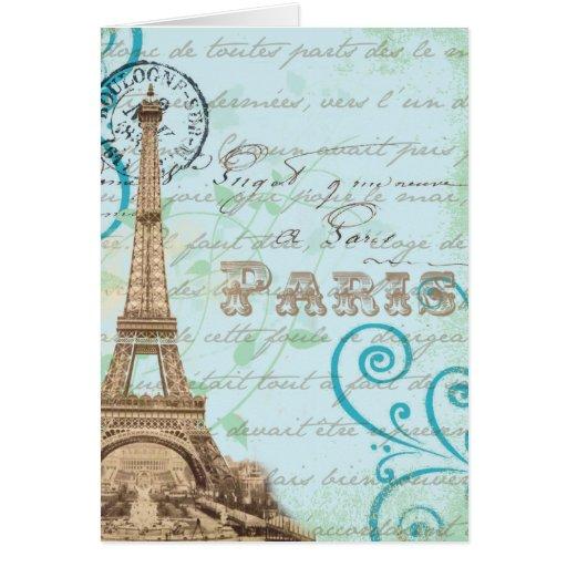 Tarjeta francesa de la aguamarina de la escritura