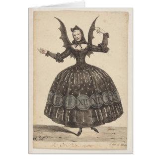tarjeta francesa del siglo XIX del traje del