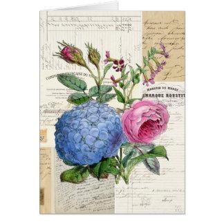 Tarjeta francesa floral del vintage