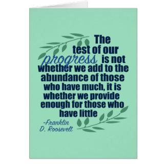Tarjeta Franklin D. Roosevelt en cita del progreso