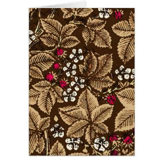 Tarjeta Fresas y hojas, chocolate de Nouveau del arte