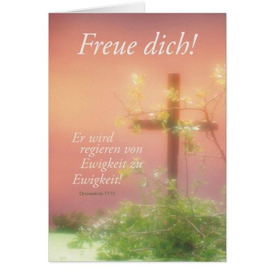 Tarjeta Freuen Ostern Kreuz y Pflanzen