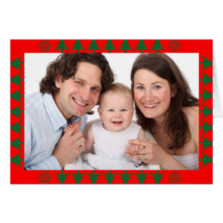 Tarjeta Frontera del árbol de navidad con la foto