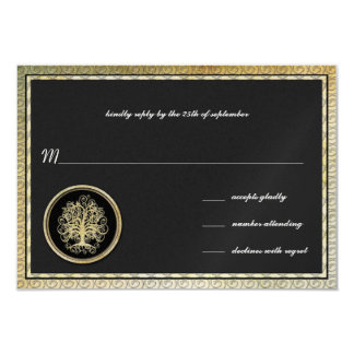 Tarjeta Frontera metálica del oro del árbol del remolino