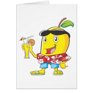 Tarjeta Fruta feliz del mango en traje de la playa