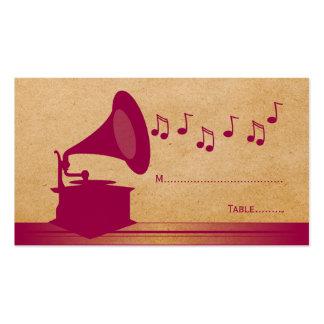 Tarjeta fucsia del lugar del gramófono del vintage tarjetas de visita