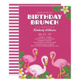 Tarjeta Fucsia rosado del brunch del cumpleaños de los
