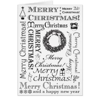 Tarjeta Fuentes festivas BW de las Felices Navidad