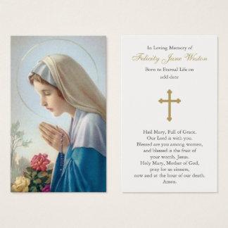 Tarjeta fúnebre del rezo del Virgen María hermoso