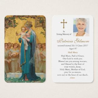 Tarjeta fúnebre el | Madonna del rezo y niño