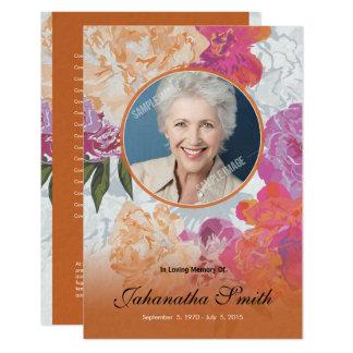 Tarjeta fúnebre floral invitación 8,9 x 12,7 cm