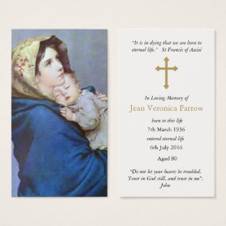 Tarjeta fúnebre Madonnina del rezo