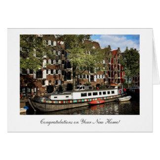 Tarjeta Gabarra del canal de Amsterdam, enhorabuena en