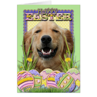 Tarjeta Galletas del huevo de Pascua - golden retriever