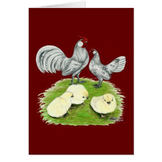Tarjeta Gallos y polluelos de Rosecomb