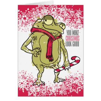 Tarjeta Ganchillo que hace punto de la bufanda de la rana