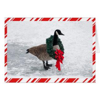 Tarjeta Ganso divertido del navidad con la guirnalda