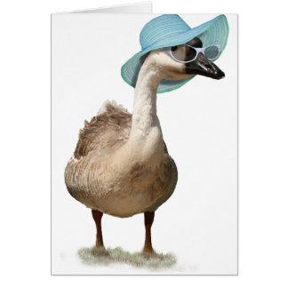Tarjeta Ganso lindo con el gorra y las gafas de sol del