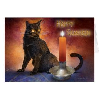 Tarjeta Gatito y vela felices de Samhain