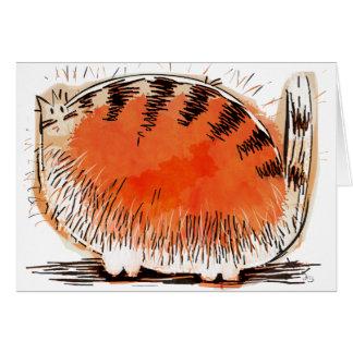 Tarjeta gato anaranjado chiflado del dibujo animado