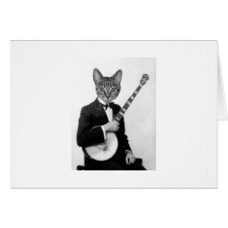 Tarjeta Gato con el banjo