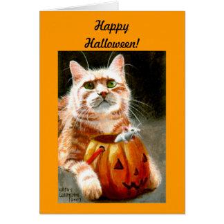 Tarjeta ¡Gato con el ratón en feliz Halloween de la