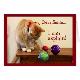 Tarjeta Gato contra el ornamento del navidad