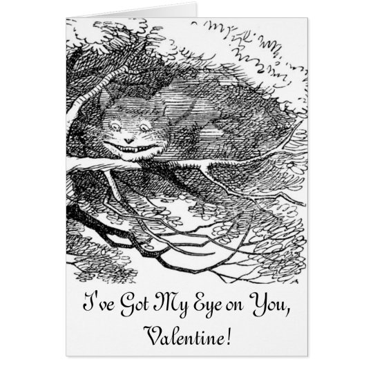 Tarjeta Gato de Cheshire ocultado en un árbol