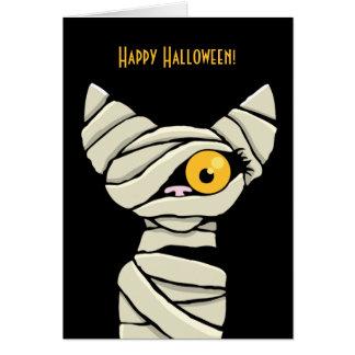 Tarjeta Gato de la momia del feliz Halloween