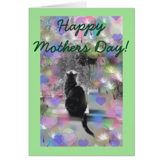 Tarjeta Gato de la plata del día de madres con los