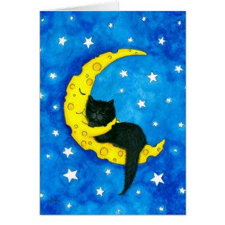 Tarjeta Gato de los sueños dulces en la luna por Bihrle