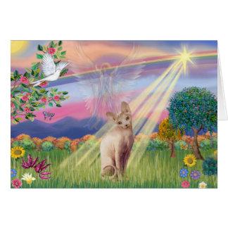Tarjeta Gato de Sphynx - ángel de la nube