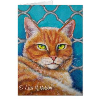 Tarjeta Gato de Tabby anaranjado en la turquesa Quatrefoil