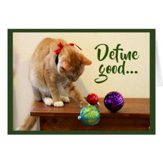 Tarjeta Gato de Tabby y ornamentos anaranjados del navidad