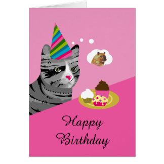 Tarjeta Gato del feliz cumpleaños con las magdalenas