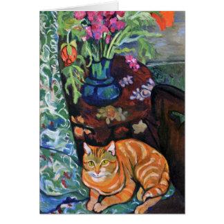 Tarjeta Gato del jengibre y ramo de flores por Valadon