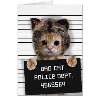 Tarjeta gato del mugshot - gato loco - gatito - felino