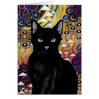 Tarjeta gato del nouveau del arte