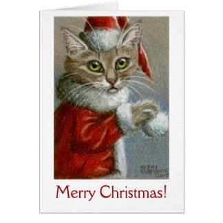 Tarjeta ¡Gato en el gorra de Santa, Felices Navidad!