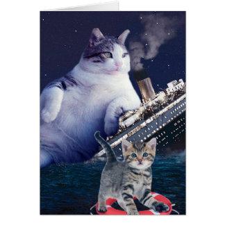 Tarjeta - Gato gordo - gatos divertidos titánicos - gato
