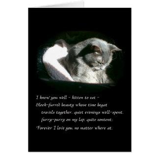 Tarjeta Gato gris triste del gatito de la condolencia del