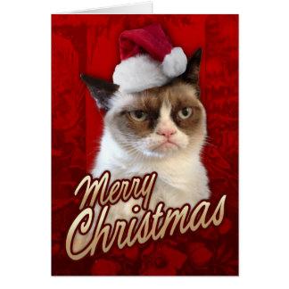 Tarjeta Gato gruñón de las Felices Navidad