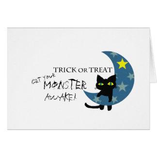 Tarjeta Gato negro con el fantasma de la calabaza de la