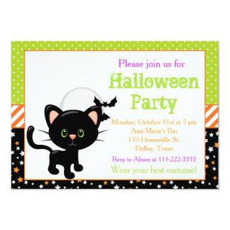 Tarjeta Gato negro de Halloween y Luna Llena