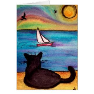 Tarjeta Gato negro del velero