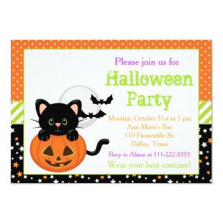 Tarjeta Gato negro y calabaza de Halloween