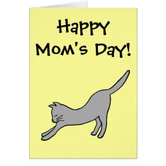 Tarjeta ¡Gato que estira gris el el día de la mamá feliz