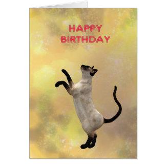Tarjeta Gato siamés y feliz cumpleaños