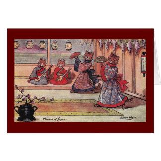 Tarjeta Gatos en el vintage Louis Wain de los kimonos