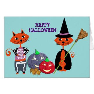 Tarjeta Gatos lindos del feliz Halloween